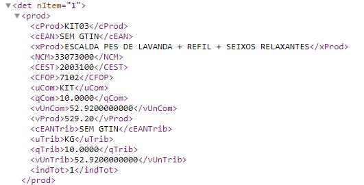 Trecho do XML da nota de exportação